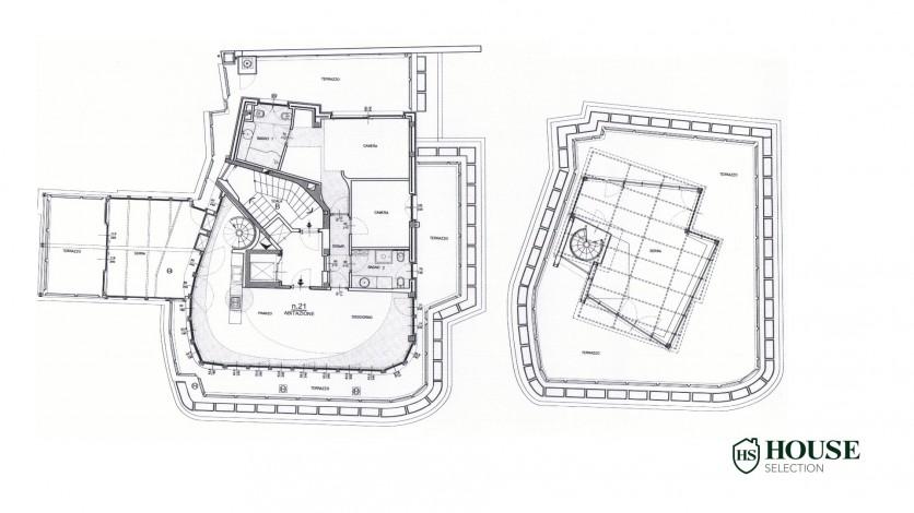 Planimetria affitto attico con terrazzo corso Venezia, ultimo piano, luminoso, ristrutturato, ampie vetrate, semi arredato, milano