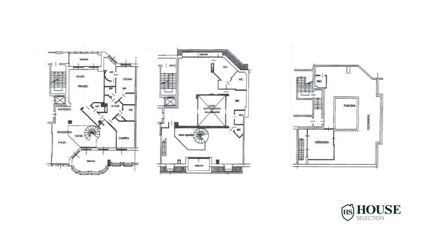 Planimetria vendita attico con piscina San Siro, via Ippodromo, terrazzi, signorile, lusso, Milano