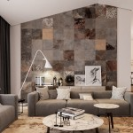soggiorno con muro in pietra naturale