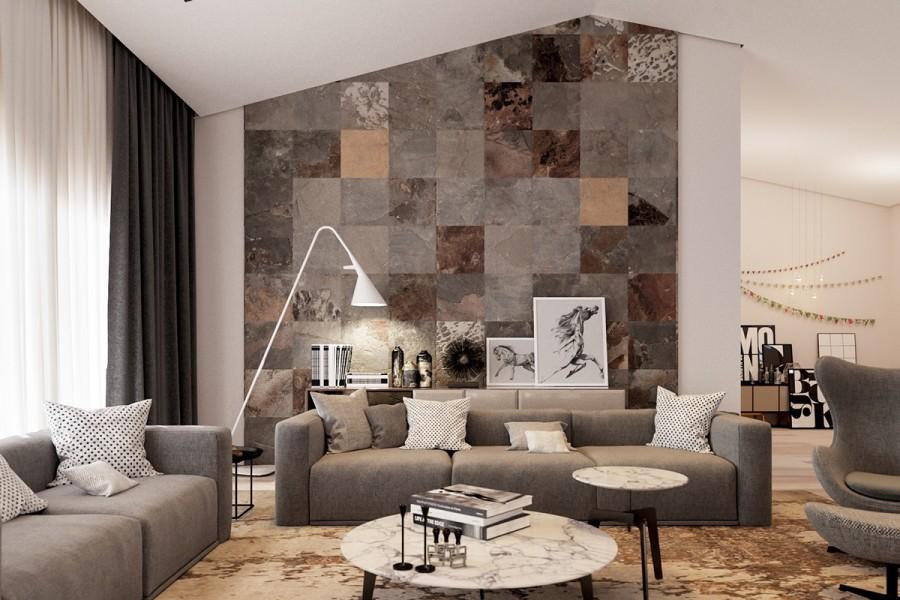 Beautiful Soggiorno Con Muro In Pietra Contemporary - Idee ...