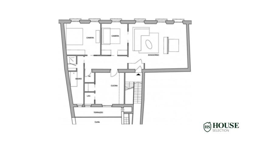 Planimetria vendita trilocale via Crocefisso, corso Italia, terrazzino, stabile epoca signorile, lusso, ristrutturato, Milano