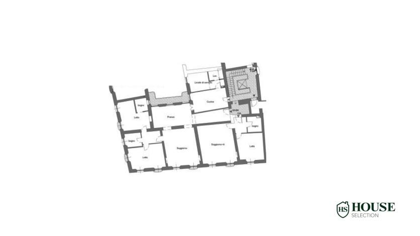 Planimetria affitto plurilocale piazza Santo Stefano, Duomo, centro, stabile signorile epoca, ascensore, portineria, Milano