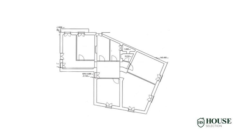 Planimetria vendita quadrilocale Arco della Pace, piazza Sempione, piano alto, stabile signorile epoca, da ristrutturare, Centro Milano