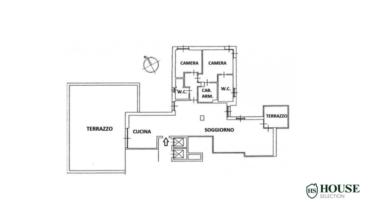 Planimetria vendita attico con terrazzo San Felice, ultimo piano, Mondadori, Segrate, ristrutturato a nuovo, Milano
