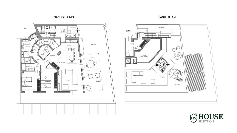 Planimetria affitto attico con terrazzo San Babila, Duomo, centro storico, nuova realizzazione, lusso, luminoso, arredato, Milano