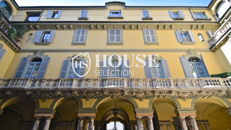 Vendita attico San Babila, centro storico Milano, ultimo piano, palazzo Visconti, lusso in stabile epoca, storico 26