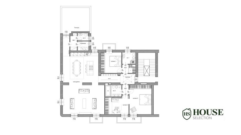 Planimetria Porta Tenaglia affitto appartamento con terrazzo