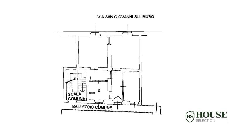 Planimetria vendita appartamento via Meravigli, corso Magenta, via San Giovanni sul Muro, ultimo piano, epoca, centro storico Milano