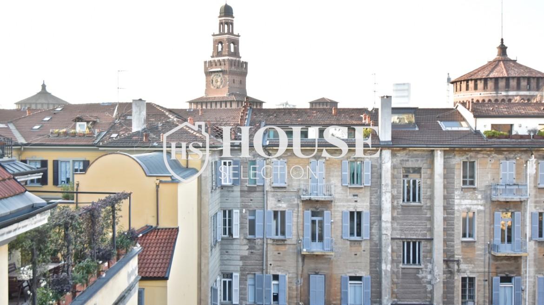 Affitto appartamento attico mansarda piazza Castello, foro Bonaparte, luminoso, ristrutturato, aria condizionata, centro storico Milano 15
