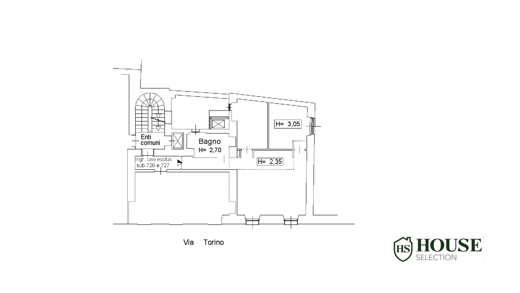Planimetria vendita trilocale via Torino